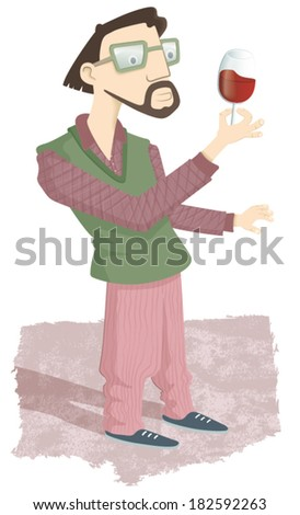 Sybarite man. A young bearded man standing looking at a glass of wine. It is a demanding gourmet enjoying excellent wine. EPS10 Illustration. - stock vector