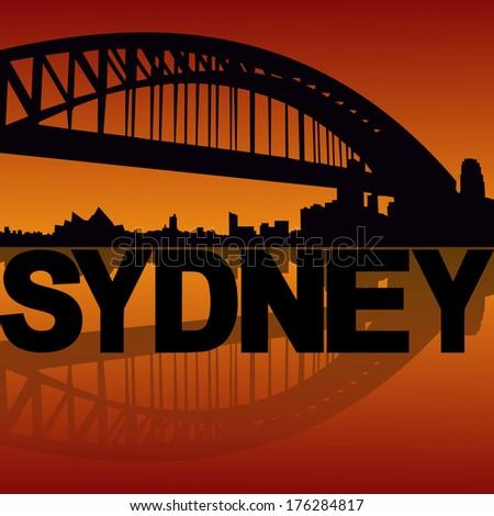 Sydney Harbour Bridge reflected at sunset vector illustration - stock vector