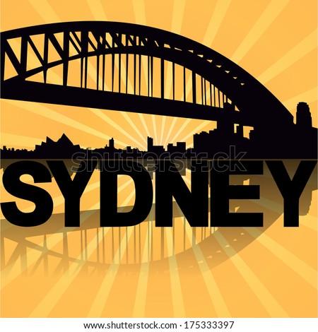Sydney harbour bridge  reflected with sunburst illustration  - stock vector