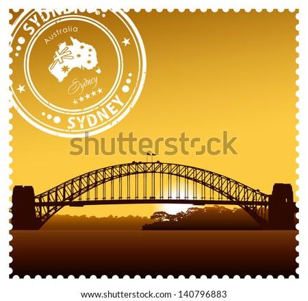 Sydney Harbour Bridge vector illustration - stock vector