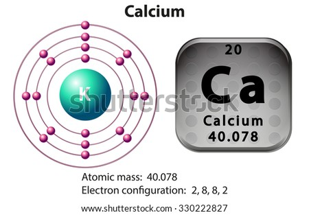 Symbol and electron diagram for Calcium illustration - stock vector