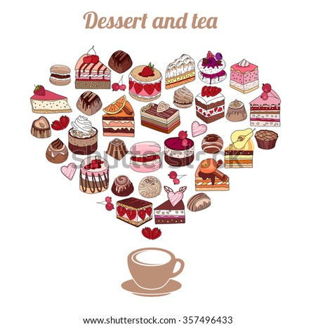Symbol Heart made of different desserts. Cake, muffin, macaroon, pie, candy. For your design, announcements, postcards, posters, restaurant menu. - stock vector