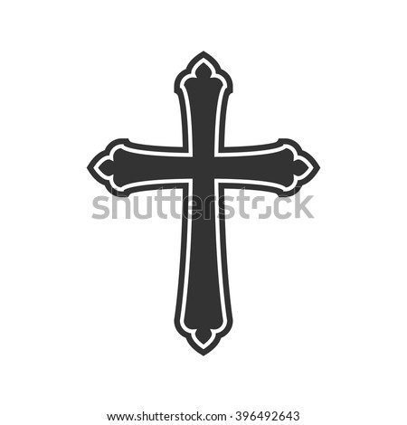 Symbol of a church cross. Christianity religion symbol. - stock vector