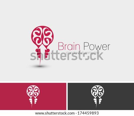 Symbol of Brain Power, isolated vector design - stock vector