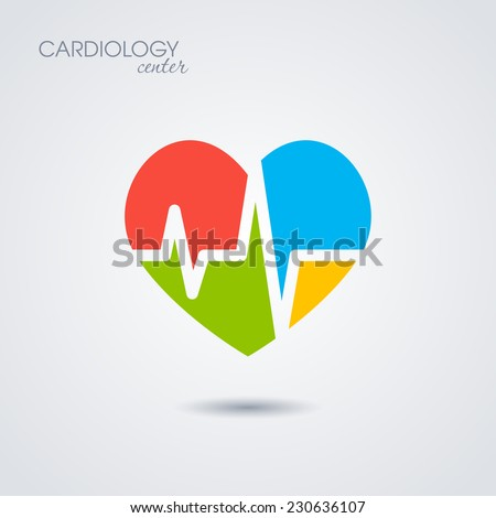 Symbol of cardiology isolated on white background. Vector illustration - stock vector