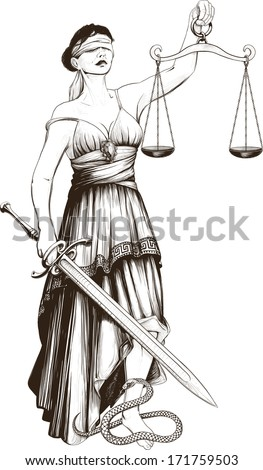 Symbol of justice Femida blindfolded weights at arm length and sharp sword - stock vector