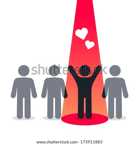 Symbol of love and happiness - pictogram people - stock vector