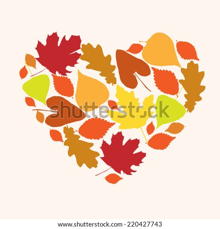 Symbol of love autumn in the form of a heart - stock vector