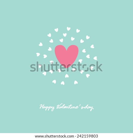 symbol of love on sweet background,greeting card, Flat design Happy Valentines. can be add text. - stock vector