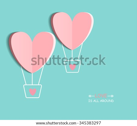 Symbol of love on sweet blue background, greeting card, Flat design Happy Valentines. can be add text. vector  illustration - stock vector