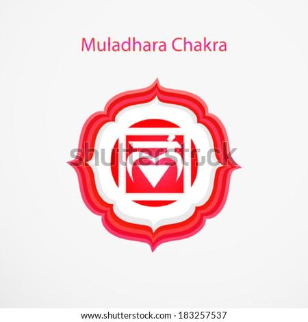 Symbol of Muladhara chakra vector - stock vector