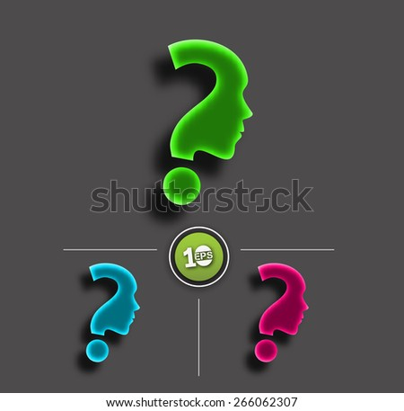 Symbol of question mark set icon. - stock vector
