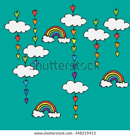 symbol of rainbow and clouds in the sky, rainbow decoration with heart shaped drops - stock vector