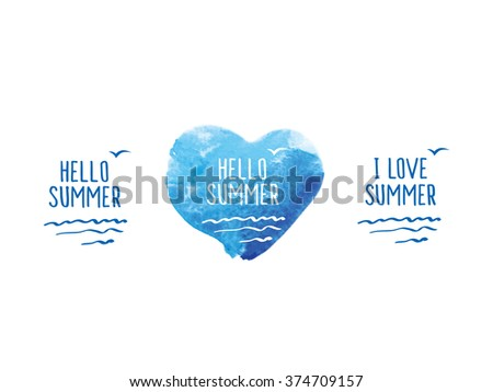 Symbol of summer. Blue watercolor heart. Doodles, sketch for your design. Vector illustration. - stock vector