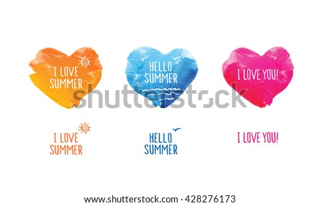 Symbol of summer. Blue, yellow and pink watercolor hearts. Doodles, sketch for your design. Vector illustration - stock vector