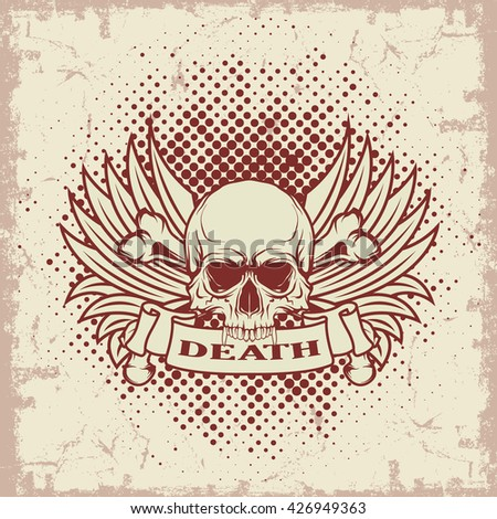 Symbol of the skull with teeth  - stock vector