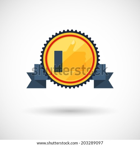 symbol of the winner, badge with tapes ,vector illustration - stock vector