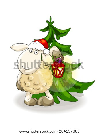 Symbol of year 2015. Lovely lamb in Santa's cap with lantern near Christmas tree on isolated white background. Illustration, vector - stock vector