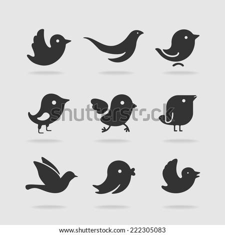 Symbol set bird - stock vector