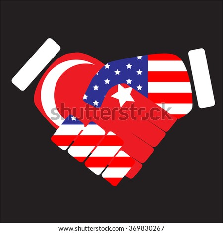 Symbol sign handshake USA and Turkey. Cooperation friendship, international agreement, country unity. Vector art abstract unusual fashion illustration - stock vector
