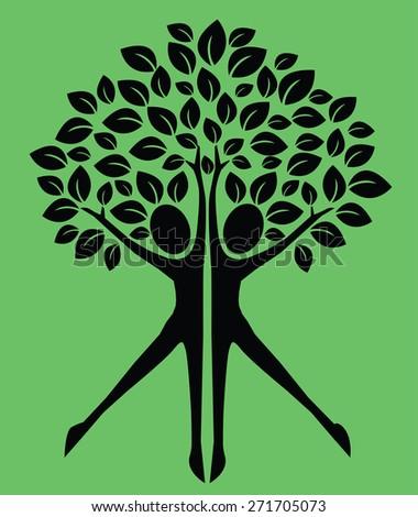 symbol tree human body logotype - stock vector