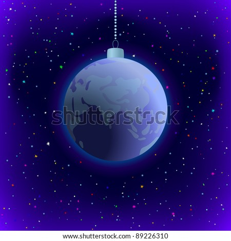 Symbolic background, planet Earth in space, as Christmas decoration. Vector - stock vector