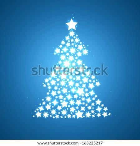 symbolic christmas tree shine glow stars - stock vector