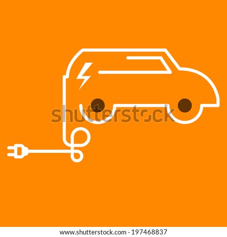 Symbolic electric car with plug - stock vector