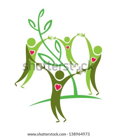 Symbolic green illustration. Joyful people, love, green life, and environmental protection.  - stock vector