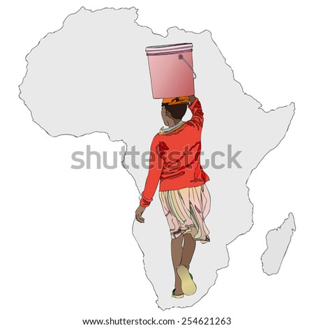 Symbolic illustration of an African woman carrying a bucket of water to the African way - stock vector