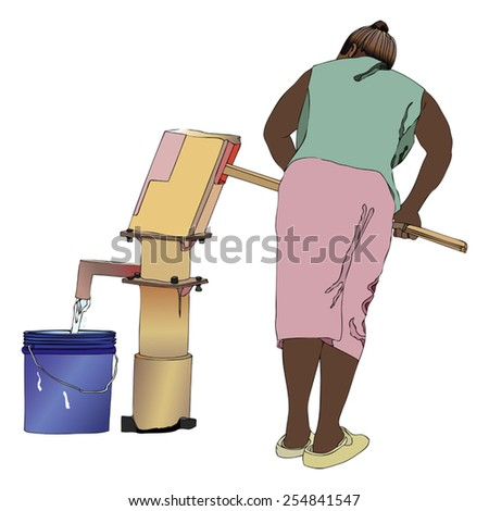Symbolic illustration of an African woman pumping a bucket of water from the fountain of the country - stock vector