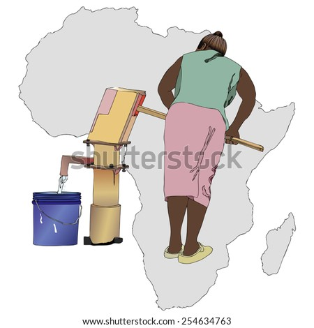 Symbolic illustration of an African woman that pumping a bucket of water from the fountain of the country - stock vector