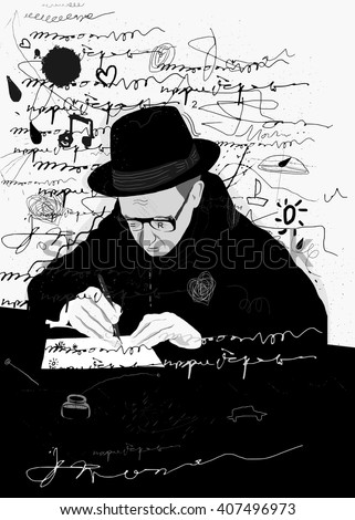 Symbolic image of a man who writes a letter with pen and ink - stock vector