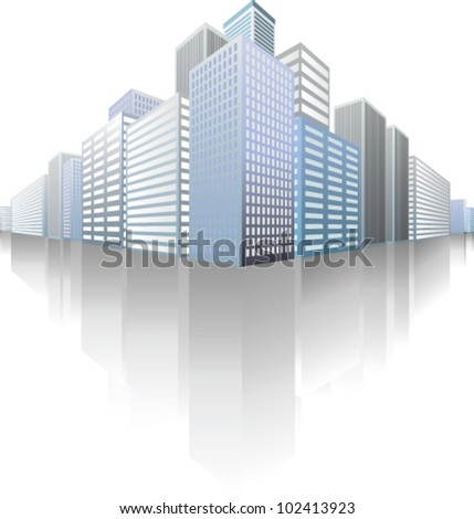 symbolic modern cityscape with skyscrapers - stock vector