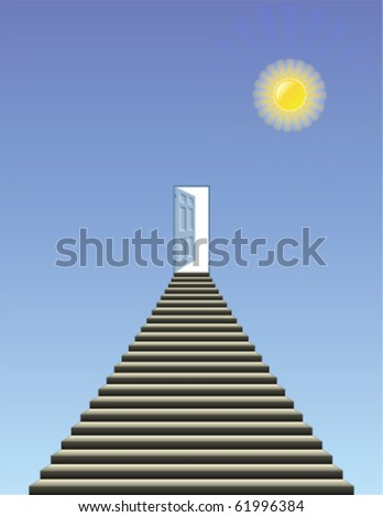 Symbolic representation of stairway and open door into heaven - stock vector