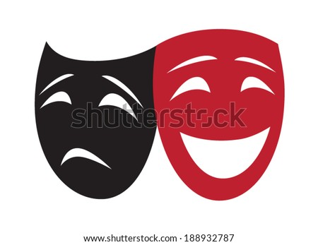 Symbolic Theatrical Masks isolated on white - stock vector