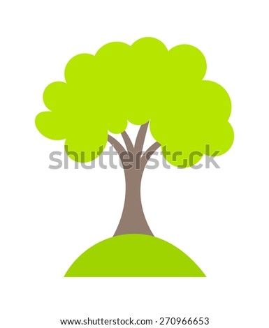 Symbolic tree growing on hill. Vector illustration - stock vector