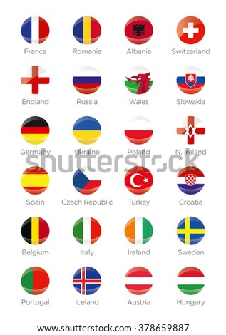 Symbols Buttons of the participating countries to the final soccer tournament of Euro 2016 in france - stock vector