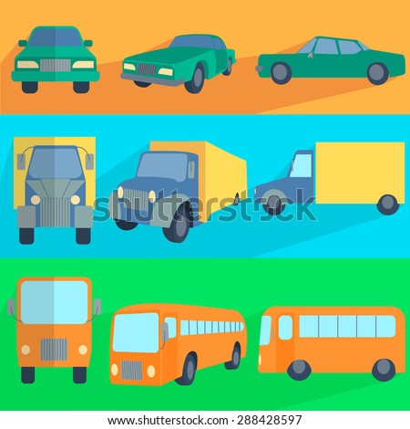 symbols car, truck, bus. Set Flat color Icons of different target vehicles in different positions. Vector Illustration - stock vector