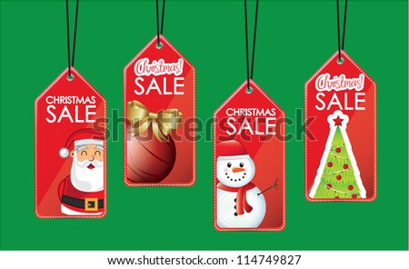 symbols hanging sales christmas over green background - stock vector