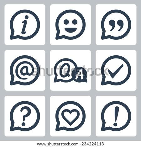 Symbols in speech bubbles vector icon set: info, smile, quotation, e-mail, FAQ, checkmark, question mark, heart, exclamation mark - stock vector