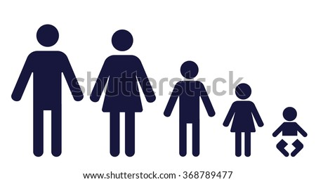 symbols of a man, woman, boy, girl and a baby in a row - stock vector