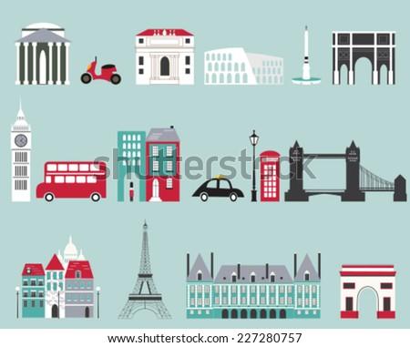 Symbols of famous cities. Vector - stock vector