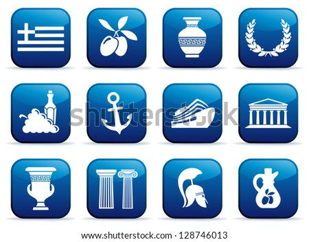 Symbols of Greece on buttons - stock vector