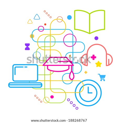 Symbols of higher education on abstract colorful light background with different icons and elements. Line art. - stock vector