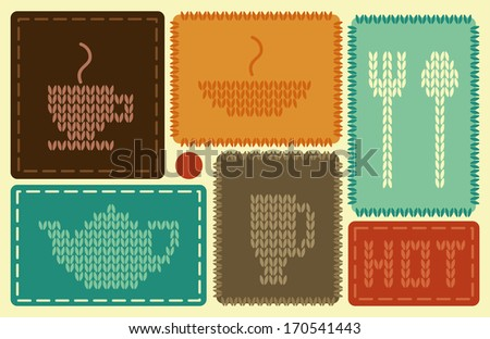 Symbols of hot dishes and drinks - stock vector
