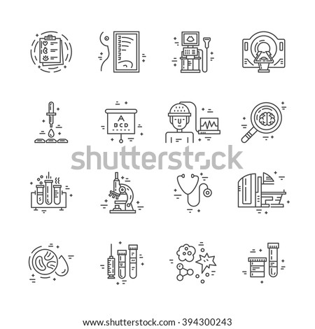 Symbols of medical technology made in line style vector. Illustration of medical services and symbols. - stock vector
