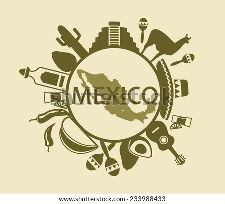 Symbols of Mexico - stock vector