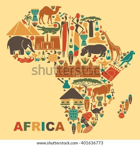 Symbols of nature, culture and architecture of Africa in the form of a map - stock vector
