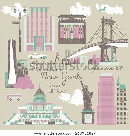 Symbols of New York - stock vector